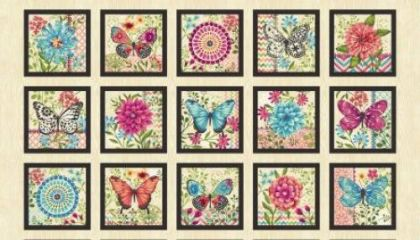"Cream Butterfly - 7"" Blocks - 4713S-33"